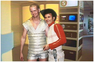 Mark Shaw (in the original Jarak costume) with Bill Boyajian (dressed as O'Reilly from All That Glisters)
